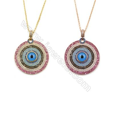Round Brass Pendant Pave Colorful Cubic Zirconia Necklaces, Chain 420mm, Pendant 31mm, x1