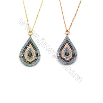 Teardrop Brass Pendant Pave Colorful Cubic Zirconia Necklaces, Chain 410mm, Pendant 20x28mm, x1