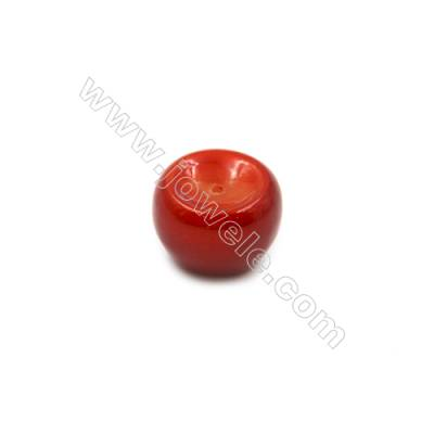 Eletroplating Red Shell Pearl Half-drilled Beads  Apple  Size 9x12mm  Hole 0.8mm  30pcs/pack