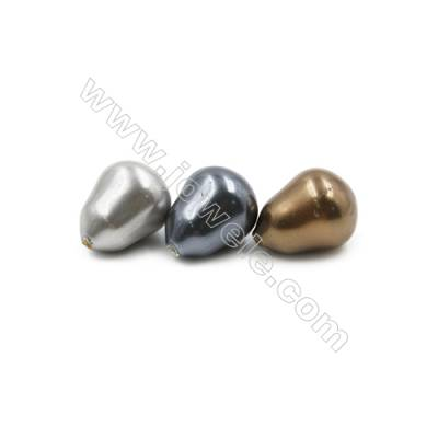Eletroplating Colorful Shell Pearl Half-drilled Beads  Gyro  Size 10x13mm  Hole 1mm  30pcs/pack
