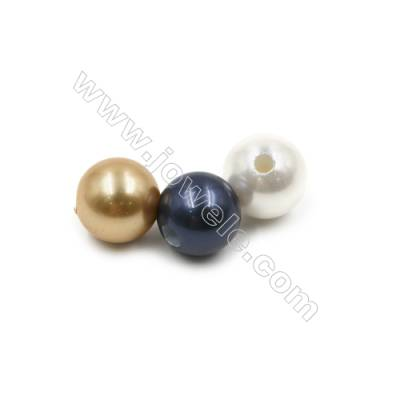 Eletroplating Colorful Shell Pearl Beads Single Beads  Round  Diameter 14mm  Hole about 4.5mm  40pcs/pack