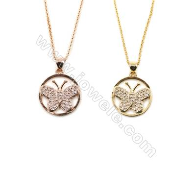 Butterfly Brass Cubic Zirconia Pendants Necklaces with Brass Chain, Chain 420mm, Pendant 18mm, x1