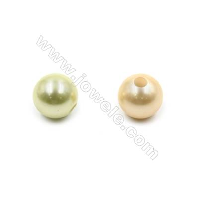 Eletroplating Colorful Shell Pearl Beads Single Beads  Round  Diameter 12mm  Hole about 2.5mm  50pcs/pack