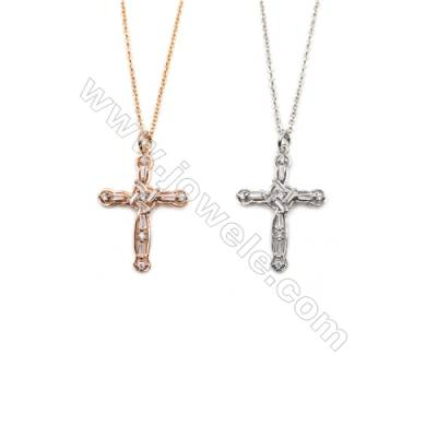 Cross Brass Cubic Zirconia Pendants Necklaces with Brass Chain, (Golden, Platinum) Plated, Chain 440mm, Pendant 20x28mm, x1