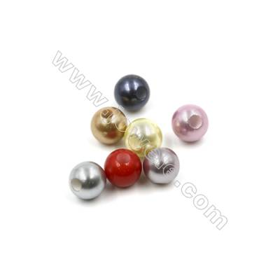 Eletroplating Colorful Shell Pearl Beads Single Beads  Round  Diameter 10mm  Hole about 2.5mm  50pcs/pack