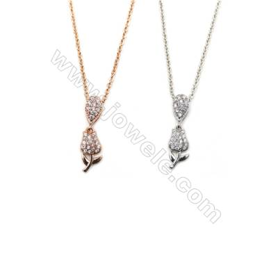 Rose Brass Cubic Zirconia Pendants Necklaces with Brass Chain, Chain 450mm, Pendant 6x11mm, x1