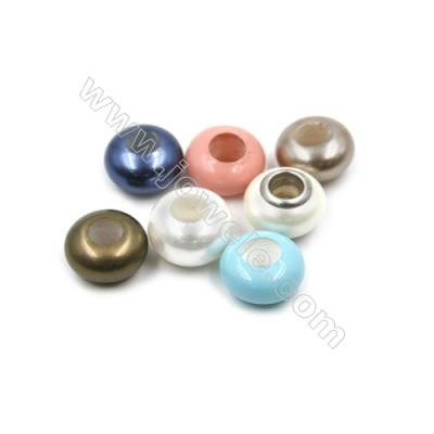 Eletroplating Colorful Shell Pearl Beads Single Beads  Abacus Bead  Size 9x13mm  Hole about 5mm  20pcs/pack