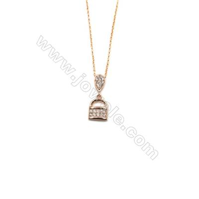 Lock Brass Cubic Zirconia Pendants Necklaces with Brass Chain, (Rose Gold) Plated, Chain 440mm, Pendant 9x9mm, x1