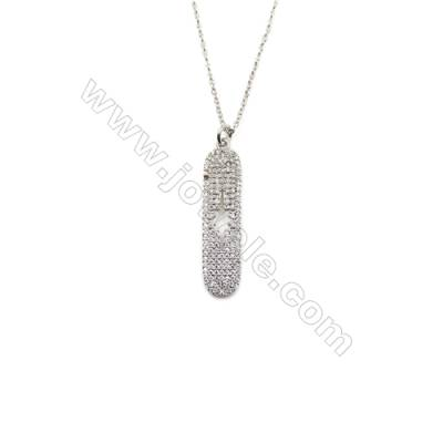 Rectangle Brass Cubic Zirconia Pendants Necklaces with Brass Chain  (Platinum) Plated  Chain 440mm  Pendant 9x31mm  x1