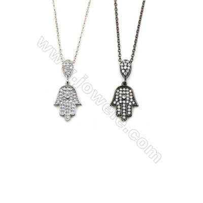 Hand-shaped Brass Pendant Cubic Zirconia Necklaces, Chain 420mm, Pendant 11x14mm, x1