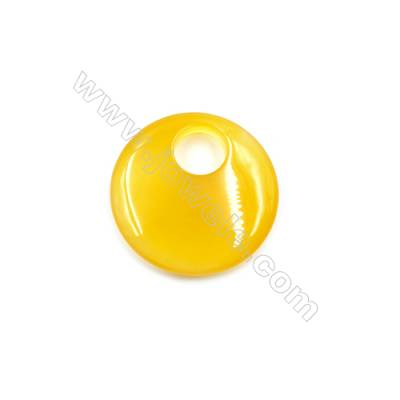 Natural Agate Pendants, Round, Diameter 40mm, Hole 12mm, 4pcs/pack