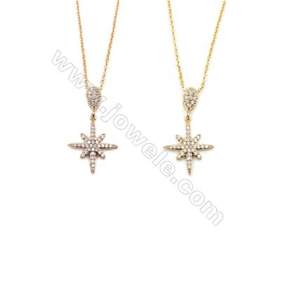 Flower Brass Cubic Zirconia Pendants Necklaces with Brass Chain, Chain 420mm, Pendant 16x17mm, x1
