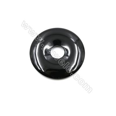Black Agate Donuts Pendants  Diameter 50mm  Hole 12mm  4pcs/pack