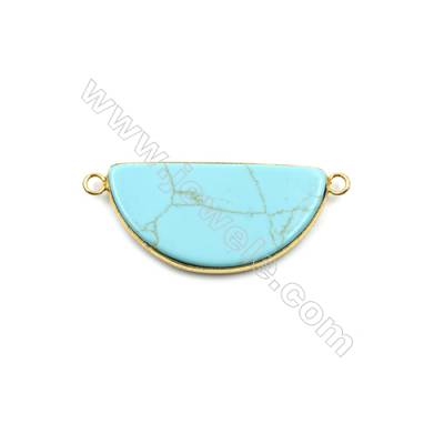Synthesis Turquoise with Brass Plated Gold Connectors, Semicircle, Size 39x20mm, Hole 2.5mm, Thick 5mm, 6pcs/pack