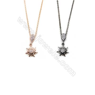 Flower Brass Cubic Zirconia Pendants Necklaces with Brass Chain, Chain 420mm, Pendant 9x11mm, x1