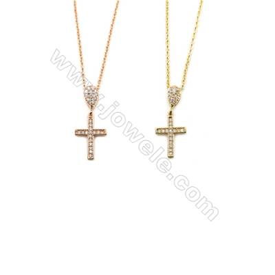 Cross Brass Cubic Zirconia Pendants Necklaces with Brass Chain, Chain 440mm, Pendant 10x15mm, x1