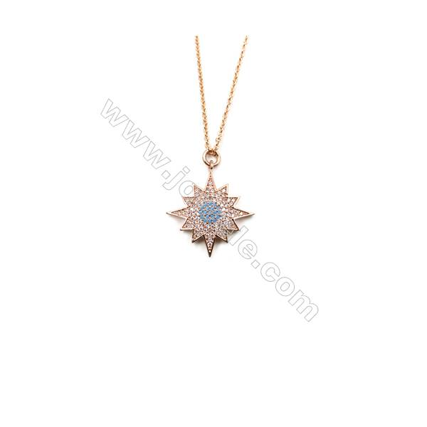 Sunflower Brass Cubic Zirconia Pendants Necklaces with Brass Chain, Chain 440mm, Pendant 22x25mm, x1