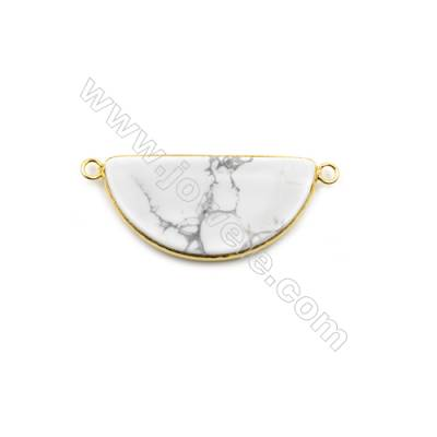 Natural Howlite with Brass Plated Gold Connectors, Semicircle, Size 39x20mm, Hole 2.5mm, Thick 5mm, 6pcs/pack
