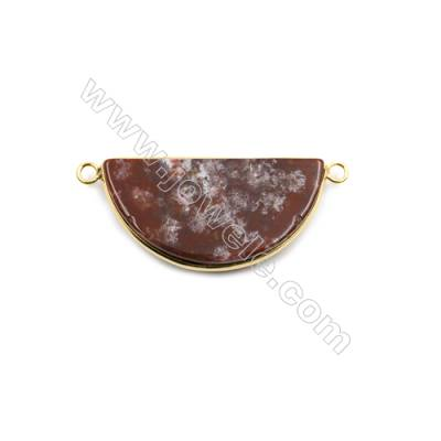 Natural Bloodstone with Brass Plated Gold Connectors, Semicircle, Size 39x20mm, Hole 2.5mm, Thick 5mm, 6pcs/pack