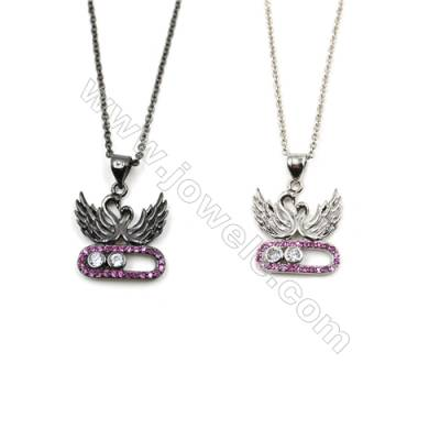 Couple Swan Brass Pendant Pave Cubic Zirconia Necklaces, Chain 420mm, Pendant 16x18mm, x1