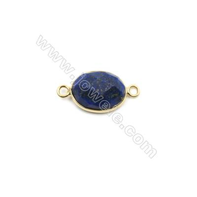 Natural Lapis Lazuli with Brass Plated Gold Connectors, Oval(Faceted), Size 17x13mm, Hole 2mm, Thick 6~8mm, 8pcs/pack