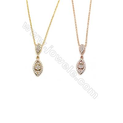 Eyes Brass Cubic Zirconia Pendants Necklaces with Brass Chain, Chain 420mm, Pendant 7x12mm, x1