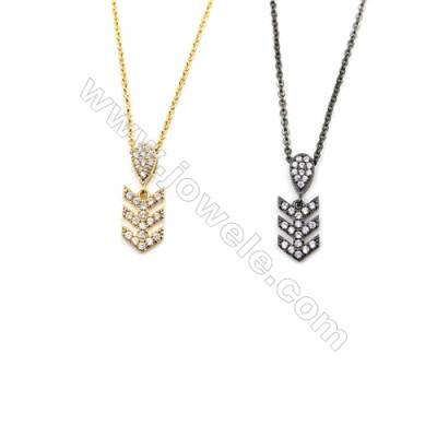 Arrow Sign Brass Cubic Zirconia Pendants Necklaces with Brass Chain, Chain 420mm, Pendant 8x13mm, x1
