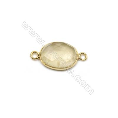 Natural Lemon Quartz with Brass Plated Gold Connectors, Oval(Faceted), Size 17x13mm, Hole 2mm, Thick 6~8mm, 8pcs/pack