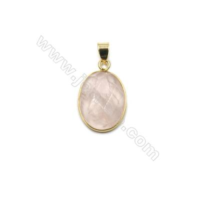 Natural Rose Quartz with Brass Plated Gold Pendants, Oval(Faceted), Size 21x16mm, Thick 7mm, 6pcs/pack