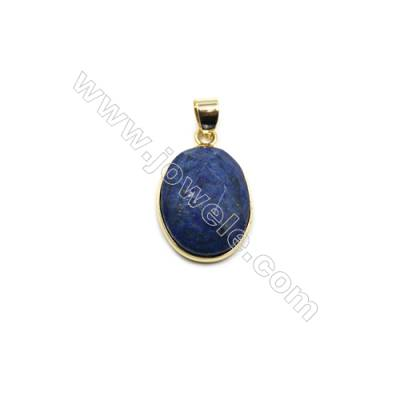 Natural Lapis Lazuli with Brass Plated Gold Pendants, Oval(Faceted), Size 21x16mm, Thick 7mm, 6pcs/pack