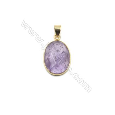 Natural Amethyst with Brass Plated Gold Pendants, Oval(Faceted), Size 21x16mm, Thick 7mm, 6pcs/pack