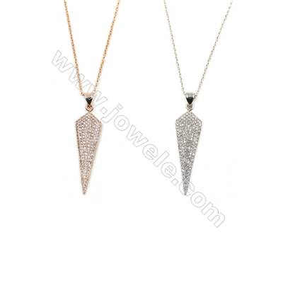 Cone Brass Cubic Zirconia Pendants Necklaces with Brass Chain, Chain 420mm, Pendant 11x32mm, x1