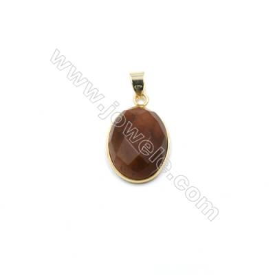 Natural Red Quartz with Brass Plated Gold Pendants, Oval(Faceted), Size 21x16mm, Thick 7mm, 6pcs/pack