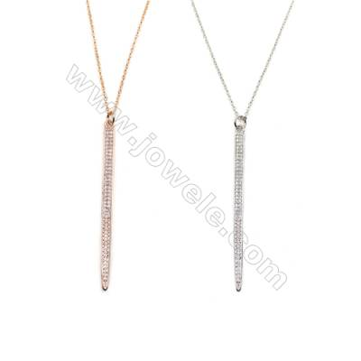 Cone Brass Cubic Zirconia Pendants Necklaces with Brass Chain, Chain 450mm, Pendant 4x56mm, x1