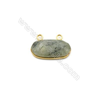 Natural Prehnite with Brass Plated Gold Connectors, Oval(Faceted), Size 26x13x8mm, Hole 2mm, 5pcs/pack