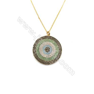 Round Brass Cubic Zirconia Pendants Necklaces with Brass Chain, (Golden) Plated, Chain 420mm, Pendant 31mm, x1