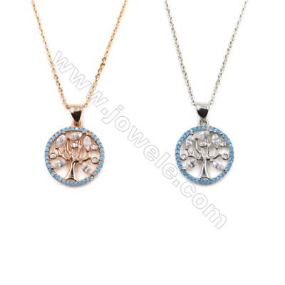 Round Brass Cubic Zirconia Pendants Necklaces with Brass Chain, Chain 420mm, Pendant 16mm, x1