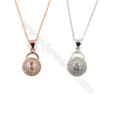 Lock Shape Brass Pendant Pave Cubic Zirconia Necklaces, Chain 420mm, Pendant 11x18mm, x1