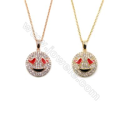 Smile-face Brass Cubic Zirconia Pendants Necklaces with Brass Chain, Chain 420mm, Pendant 15mm, x1