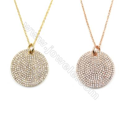 Round Brass Cubic Zirconia Pendants Necklaces with Brass Chain, Chain 420mm, Pendant 22mm, x1