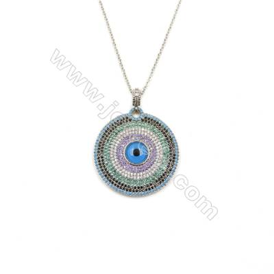 Round Brass Cubic Zirconia Pendants Necklaces with Brass Chain, (Platinum) Plated, Chain 420mm, Pendant 31mm, x1