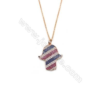 Hand-shaped Brass Cubic Zirconia Pendants Necklaces with Brass Chain, Chain 420mm, Pendant 21x25mm, x1