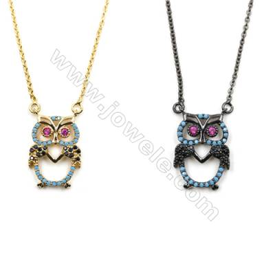 Owl Brass Cubic Zirconia Pendants Necklaces with Brass Chain, Chain 420mm, Pendant 14x19mm, x1