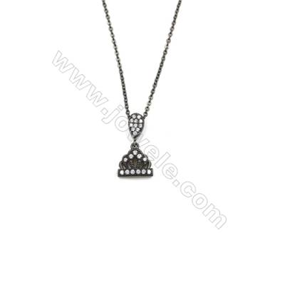 Crown Brass Cubic Zirconia Pendants Necklaces with Brass Chain, Chain 420mm, Pendant 10x11mm, x1