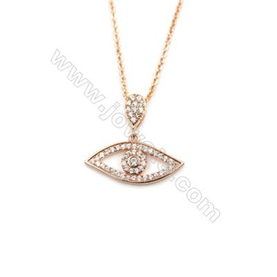 Eyes Brass Cubic Zirconia Pendants Necklaces with Brass Chain, Chain 420mm, Pendant 11x22mm, x1
