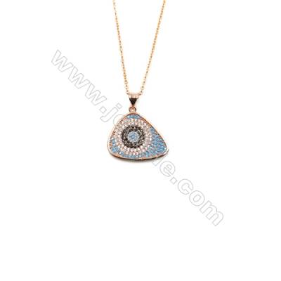 Eyes Brass Cubic Zirconia Pendants Necklaces with Brass Chain, Chain 420mm, Pendant 20x21mm, x1