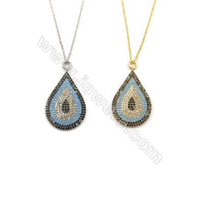 Teardrop Brass Pendant Pave Cubic Zirconia Necklaces, Chain 420mm, Pendant 20x31mm, x1