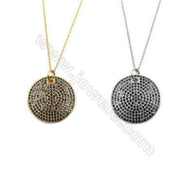 Round Brass Cubic Zirconia Pendants Necklaces with Brass Chain, Chain 420mm, Pendant 27mm, x1
