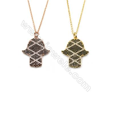 Hand-shaped Brass Cubic Zirconia Pendants Necklaces, Chain 420mm, Pendant 21x25mm, x1