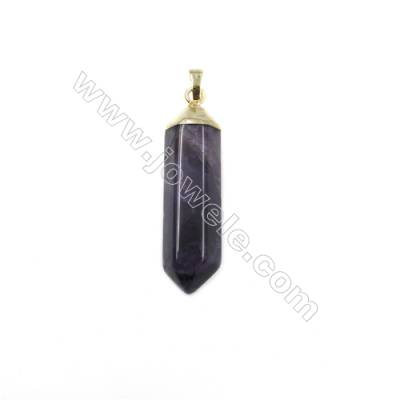 Natural Amethyst with Brass Plated Gold Pendants, Bullet(Faceted), Size 48~51x13~14mm, 5pcs/pack